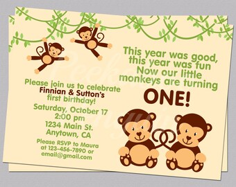 Twins First Birthday Invitation, Monkey Kid's Birthday Invite, Digital First Birthday Invitation, Printable Jungle Birthday Invitation