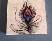 Decorative Feathery Art Coaster, Wine Trivet, Set of 4 Coasters