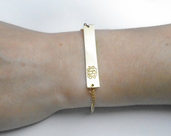 Gold monogram bracelet, gold pendant, Personalized Gold Bar Necklace, Name Plate Bracelet, Engraved Bracelet