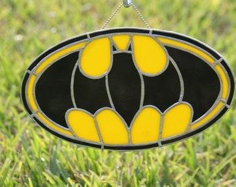 """BATMAN Stained Glass  Suncatcher 9.5"""" x 5.5"""""""