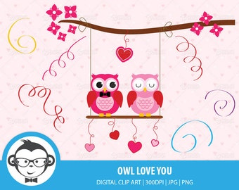 Owl Love You Digital Clip Art - Instant Download Digital Clip Art For Commercial or Personal Use