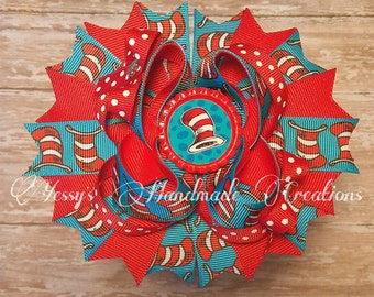 Dr. cat in the hat inspired boutique hair bow!