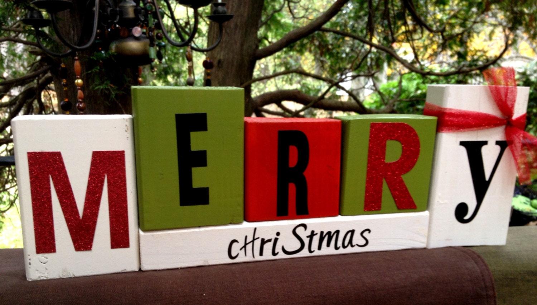 christmas wood word blocks for home decor by havingablockparty family sign living room decor name block family sign