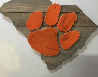 Clemson Tigers Wooden Rustic Wall Art