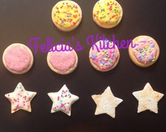 Sugar Cookies for your American Girl Doll, Iced Cookies for American Girl, Sugar Cookies for your 18 inch doll, polymer clay cookies