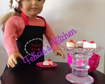 Cherry Cheesecake for your american girl doll, cheesecake for your 18 inch doll, american girl doll food, doll sized cheesecake