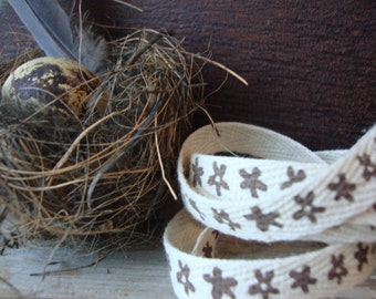 2 Yards - Natural Twill Ribbon with Brown Flowers