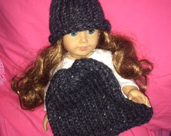 Handmade American Girl doll knit hat and girls' hat, super cute! Fits 18 inch dolls and girls.
