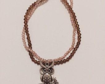 Glass Bead Bracelet with Owl Charm