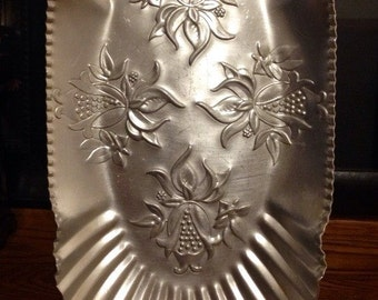 Gorgeous Vintage Forged Aluminum Ornate Floral Tray ca. 1930's