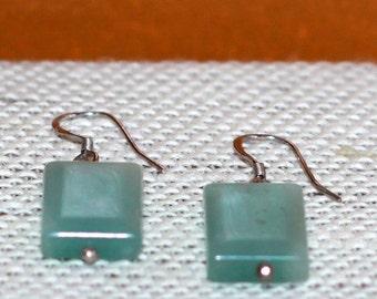 Mint Green Tile Bead Earrings