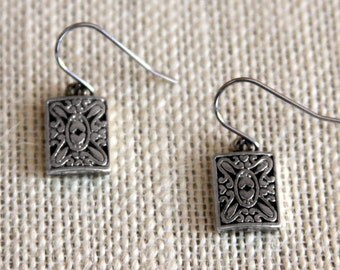 Vintage Palladium Filigree Tile Earrings