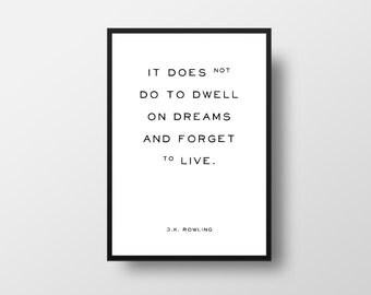 J K Rowling, Motivational Quote, Harry Potter, Dream Quote, Minimalist Art, Inspirational Poster, Vintage Style Quote, Vintage Poster
