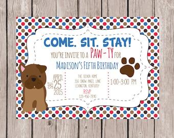 PRINTABLE- Puppy Dog Birthday Invitation - Boy's Birthday Invite- Girl's Birthday Invite-Party Invite- 5x7 JPG