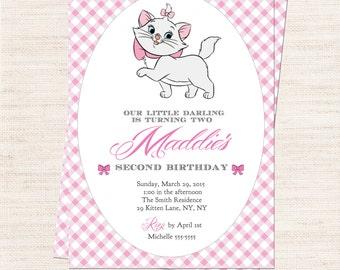 Marie Invitation | Kitten Party Invitation Printable | Girl Birthday | Gracie Lee Design