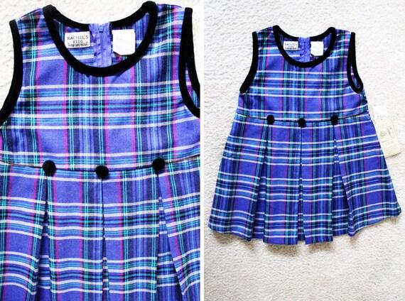 vintage purple plaid pleated skirt jumper dress size