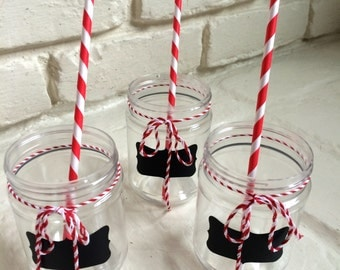 Carnival Party Supplies: Plastic Mason Jar Drink Cups or Treat Jars - Circus Party Supplies