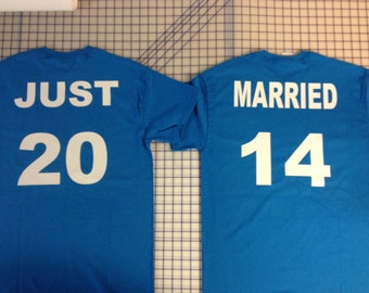 Personalized Just Married Shirts - Front and Back      50+ colors and different styles to choose from