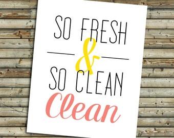 So Clean Bathroom Art Print   Pink Coral & Yellow   Instant Download Printable Digital File   KFT Design Original