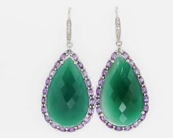 925 Green Chalcedony/ Amethyst / White Topaz Earring
