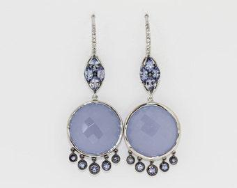 925 Blue Chalcedony / Tanzanite / White Topaz Earring