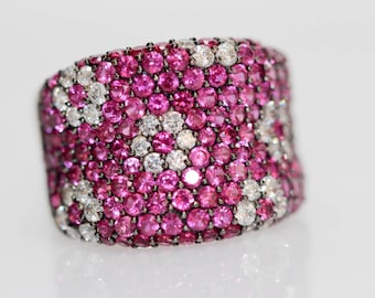 925 Synthetic Ruby / White Topaz Ring