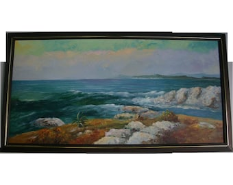California School 4 Ft Wide Magnificent Plein Air Sweeping Cresting Waves Seascape Oil Painting
