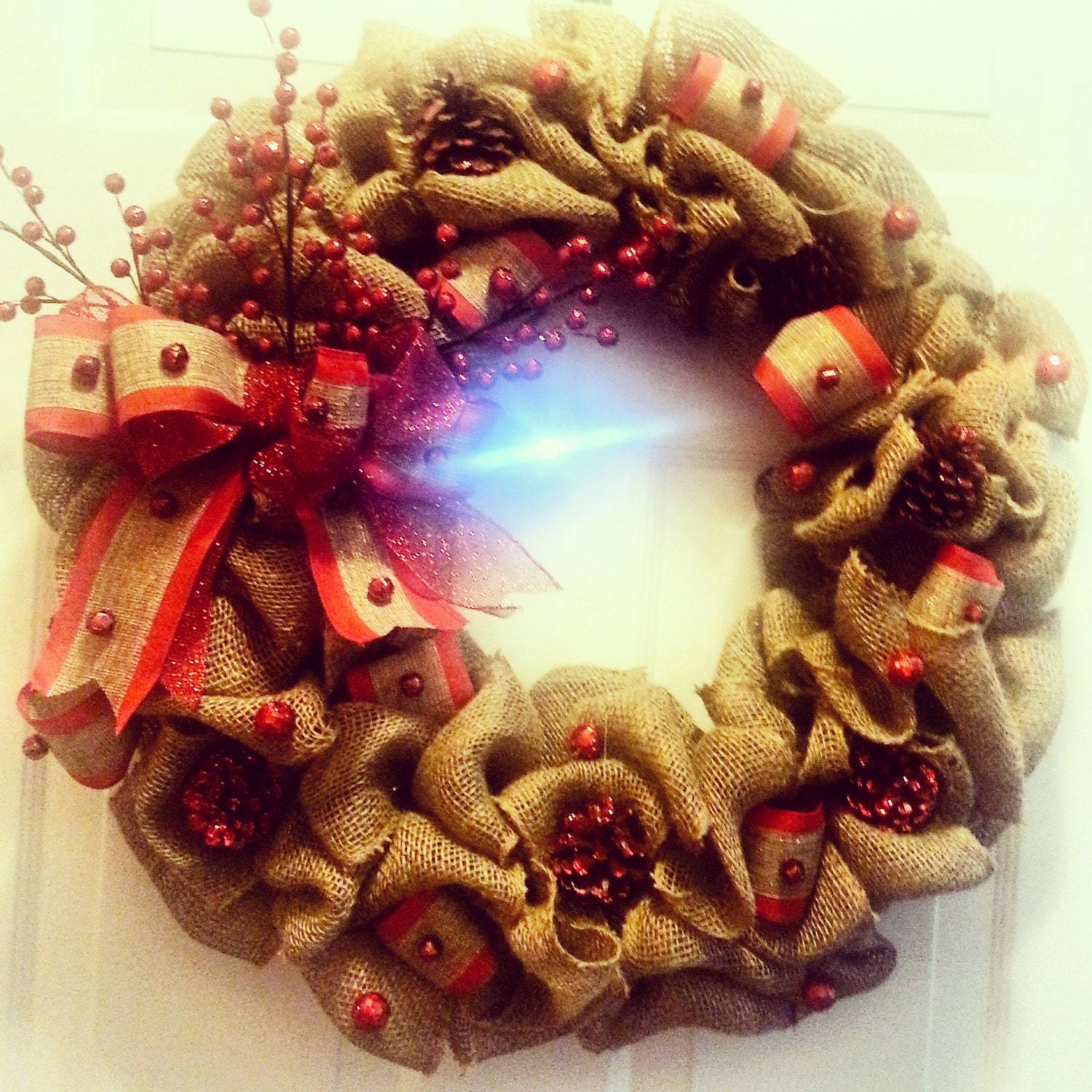 Burlap Christmas Red Jingle Bells Wreath