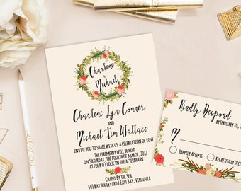 Charlene Printable Wedding Invitation (DIY Invitation), Watercolor Floral Wreath Invitation