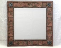 Rustic Wood Mirror Frame Weathered Wood Squares Geometric Diamond Motif & Forged Iron Accent