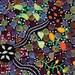 Australian Aboriginal Cotton Quilting Fabric - CORROBOREE BLACK- sold by 1/4 metre or Fat Quarter