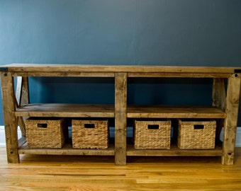 Rusitc Reclaimed Wood Finish Buffet Table