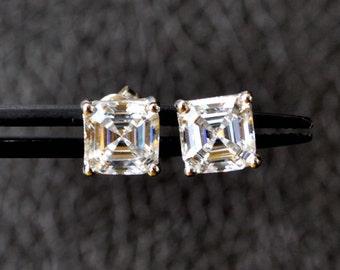 Sterling Silver Studs earrings, 2.0ct Asscher Cut studs, sterling silver CZ stud earrings