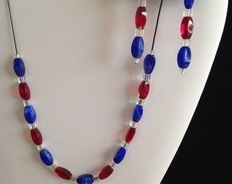 Red and Blue with Matching Earrings