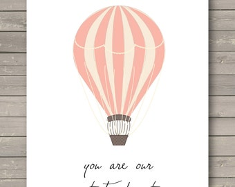 Nursery Art Print, Wall Typography Art, Hot Air Balloon Decor, Quote Typography, Babys Room, You Are Our Greatest Adventure-Instant Download