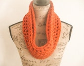 Ready To Ship! Infinity Crochet Scarf, Crochet Scarf, Burnt Pumpkin Crochet Scarf, Women's Crochet Scarf, Chunk Crochet Scarf, Gifts for her