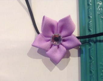 Lilac grosgrain ribbon flower headband