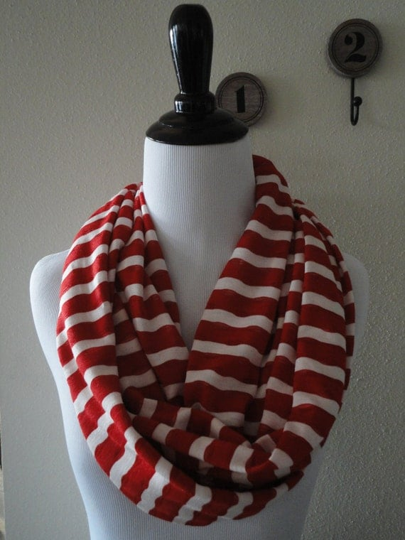 and white striped infinity scarf by eclecticallyrustic
