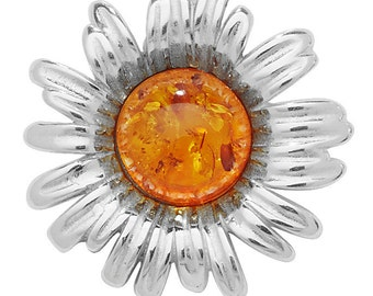 Eco friendly Silver Sunflower Amber Pendant