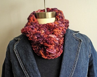 Red and Purple Multicolor Neckwarmer Cowl