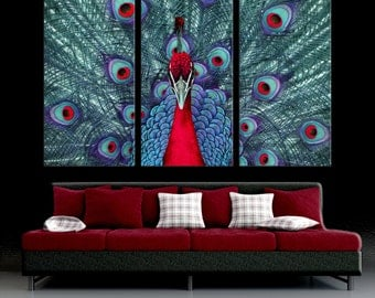 Red Peacock   3 Panel Split, Triptych Canvas Print. Teal, Red, Blue Part 85