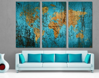 Munsell Blue Abstract World Map Canvas Print Wall Art Multi Panel. 3 Panel Split (Triptych) For home living room wall decor, interior design