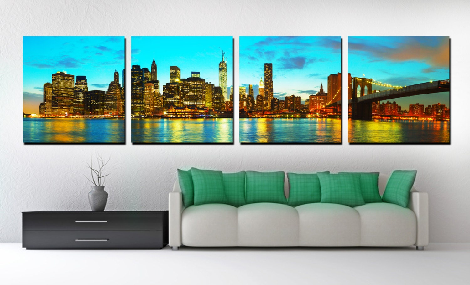 4 panel split new york skyline panoramic canvas print nyc for 15x15 living room