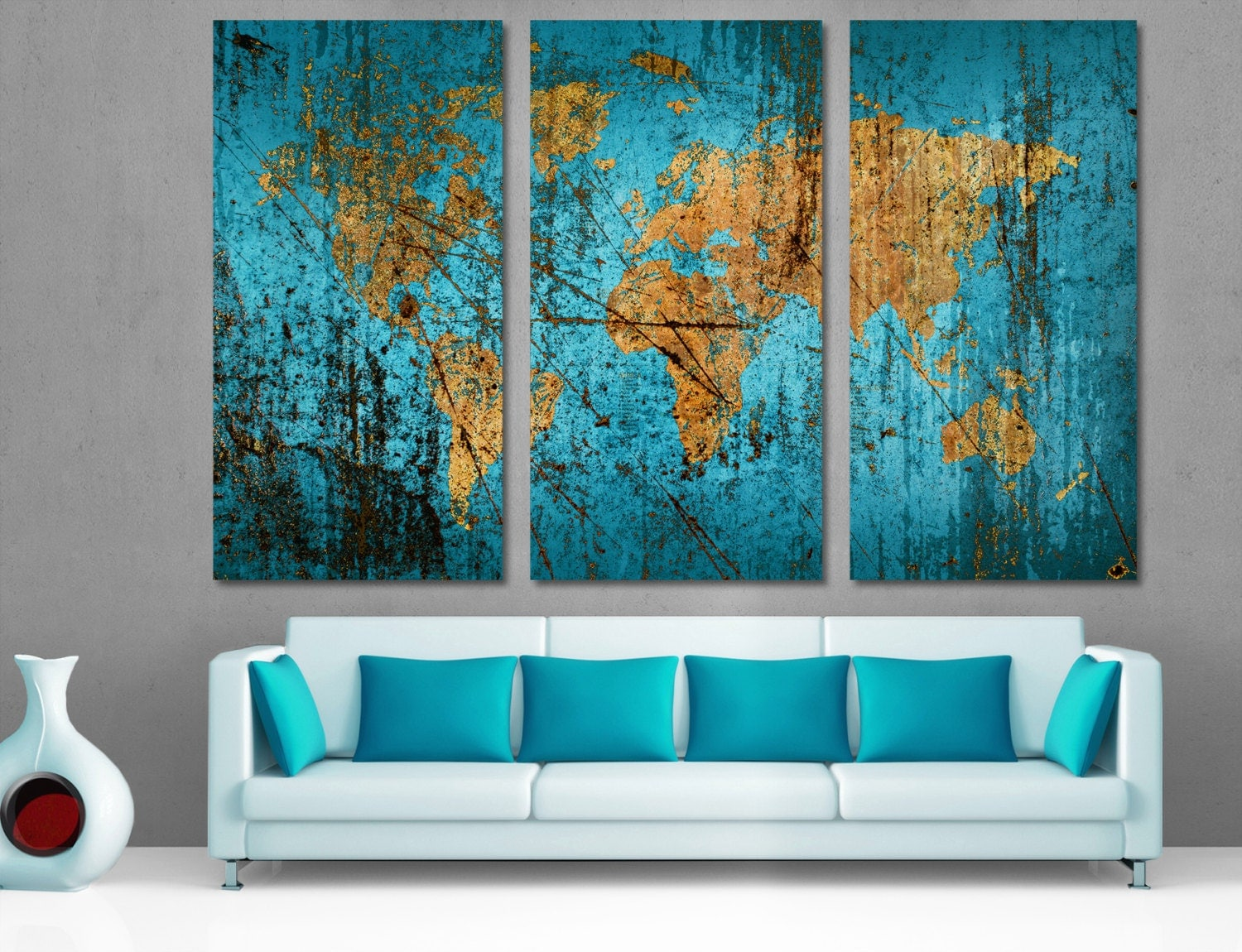 Munsell blue abstract world map canvas print wall art multi for Split wall
