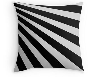 Black and White Stripes Pillow, Toss Pillow, Decorative Pillow, Abstract Stripe Pillow