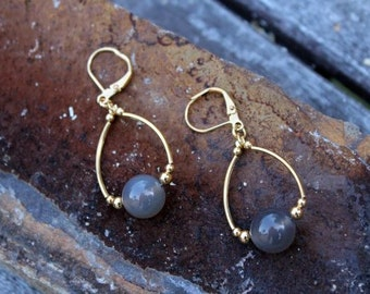 Gorgeous Smoke Chalcedony Quartz Gold Chandelier Earrings