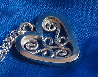 Sterling silver handmade square filigree heart on silver chain