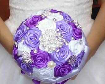Bridal bouquet, handmade,color purple, white