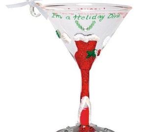 Hand Painted Holiday Martini HOLIDAY DIVA Lolita Mini-Tini Glass Ornament Christmas