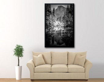 Yosemite Photography, Half Dome Reflection on the Merced River, Landscape Photographic Print, Black and White Photo, Yosemite Landscape